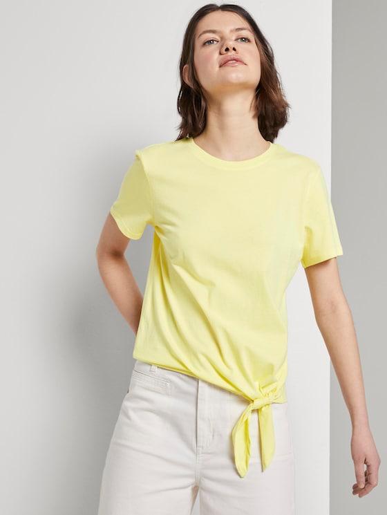 Lockeres T-Shirt mit Knotendetail - Frauen - daffodil yellow - 5 - TOM TAILOR Denim