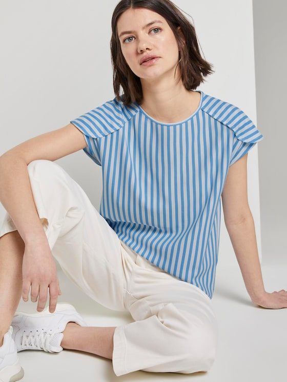 Lockeres T-Shirt mit Streifenmuster - Frauen - blue white vertical stripe - 5 - TOM TAILOR Denim