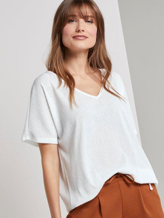 Strukturiertes T-Shirt mit V-Ausschnitt - Frauen - Off White - 5 - TOM TAILOR Denim