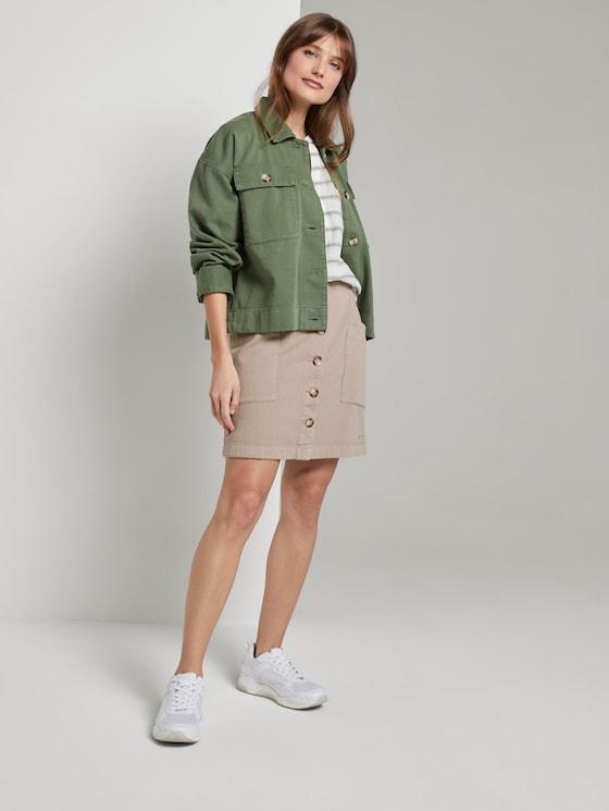 Utility mini skirt with a button tab - Women - dark beige - 3 - TOM TAILOR Denim