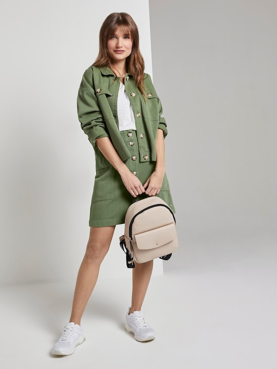 Utility mini skirt with a button tab - Women - olive green - 3 - TOM TAILOR Denim