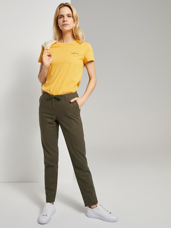 Slim Chino Hose mit elastischem Bund - Frauen - Woodland Green - 3 - TOM TAILOR