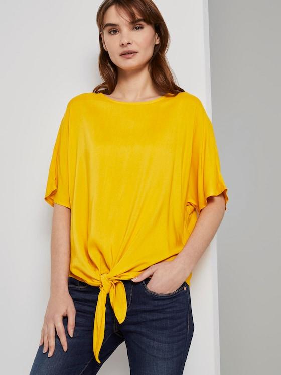Gemusterte Kurzarm-Bluse mit Knotendetail - Frauen - deep golden yellow - 5 - TOM TAILOR