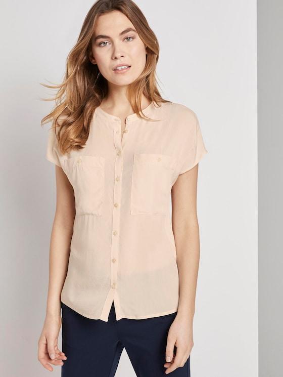 Blusenshirt mit Mao-Kragen - Frauen - soft vanilla - 5 - TOM TAILOR