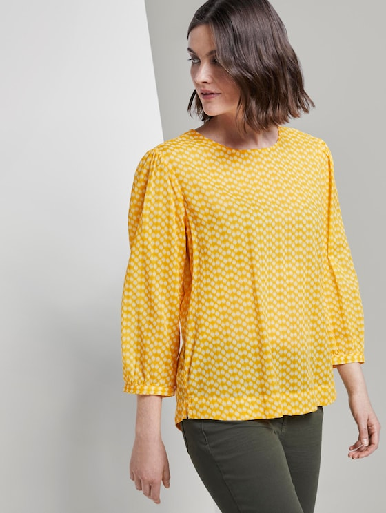 Playful blouse with an all-over print - Women - yellow dot design - 5 - TOM TAILOR