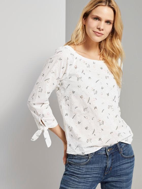 Schulterfreie Bluse mit Lochmusterung - Frauen - white khaki print on shiffli - 5 - TOM TAILOR