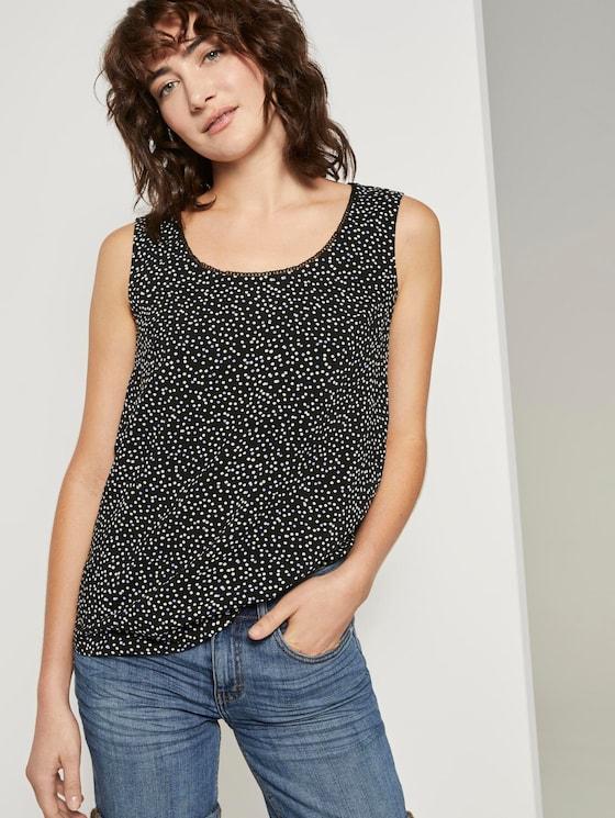 Fließende Bluse - Frauen - black offwhite dot print - 5 - TOM TAILOR