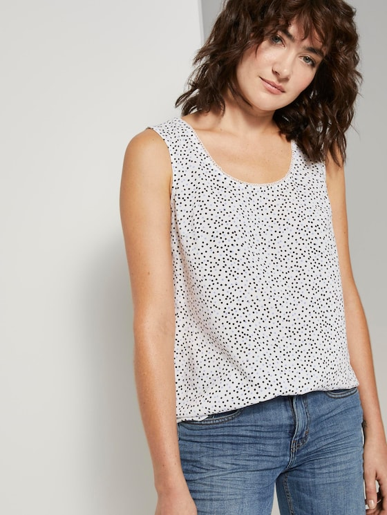 Fließende Bluse  - Frauen - offwhite black dot print - 5 - TOM TAILOR