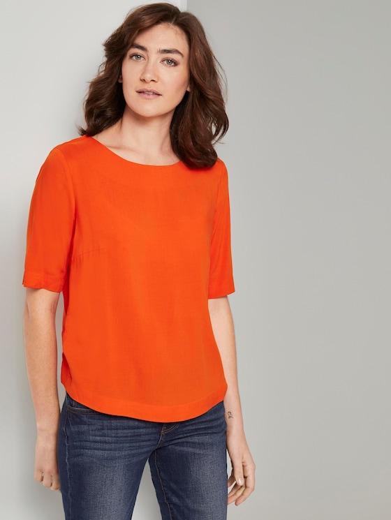 Kurzarm Bluse - Frauen - strong flame orange - 5 - TOM TAILOR