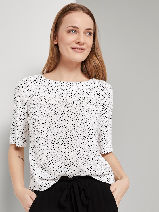 Kurzarm Bluse - Frauen - offwhite black dot print - 5 - TOM TAILOR