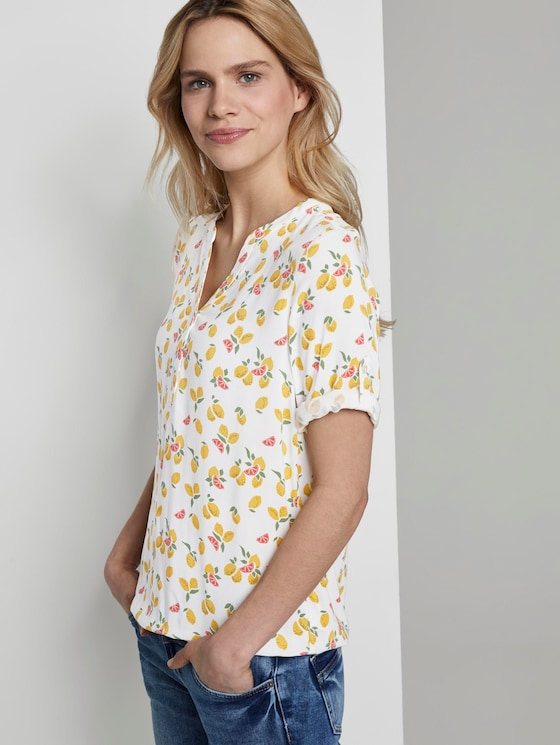 Henley blouse with an elastic waistband - Women - offwhite fruit minimal - 5 - TOM TAILOR