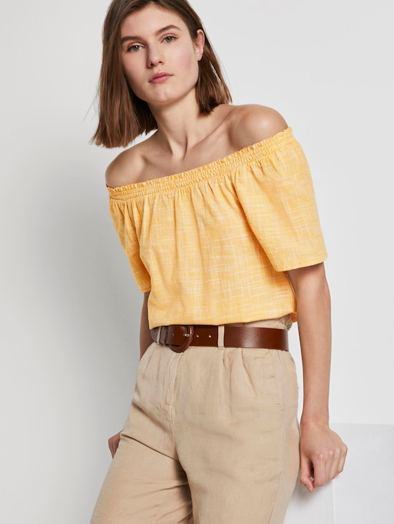 Kurzarm-Bluse mit Carmen-Ausschnitt - Frauen - deep golden yellow - 5 - TOM TAILOR