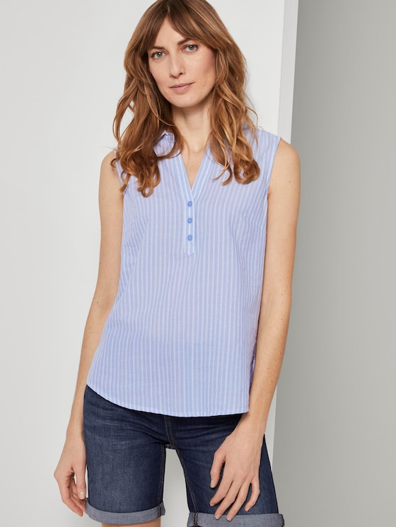Sleeveless shirt blouse with a striped pattern - Women - blue dobby stripe - 5 - TOM TAILOR
