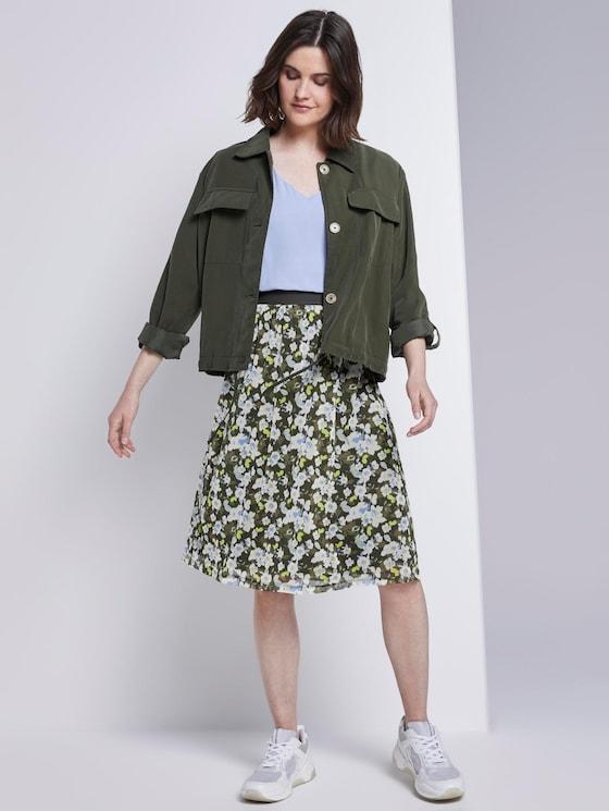 Mesh-Rock mit floralem Muster - Frauen - small khaki floral design - 3 - TOM TAILOR
