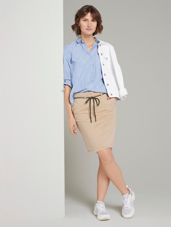Skirt in a chino style - Women - cream toffee - 3 - TOM TAILOR