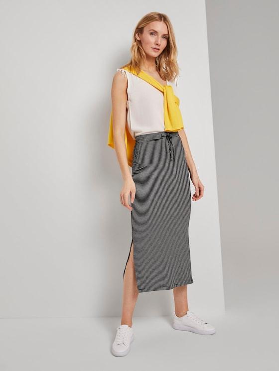 Jersey Maxirock mit Seitenschlitzen - Frauen - black thin stripes - 3 - TOM TAILOR