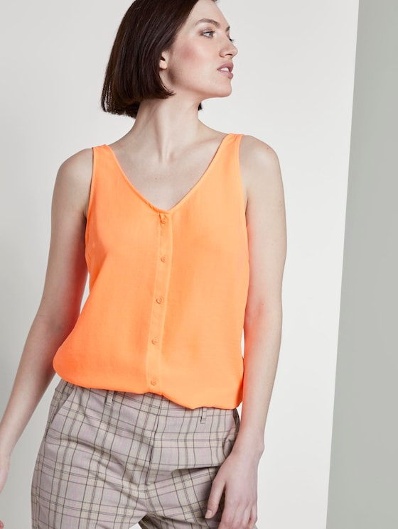 Sleeveless blouse with a button tab - Women - dark papaya neon orange - 5 - TOM TAILOR Denim