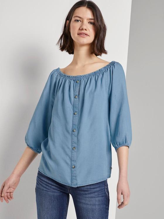 Schulterfreie Carmen-Bluse mit Knöpfen - Frauen - light stone bright blue denim - 5 - TOM TAILOR Denim