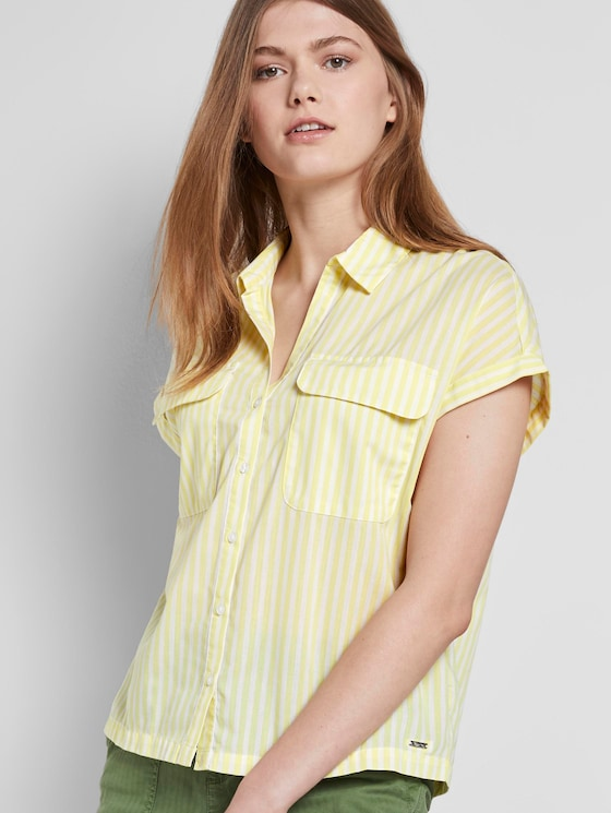 Gestreiftes Blusenshirt im Boxy-Fit - Frauen - yellow white vertical stripe - 5 - TOM TAILOR Denim