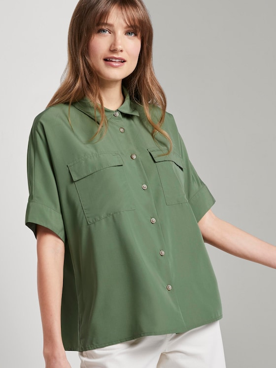 Short blouse shirt with pockets - Women - olive green - 5 - TOM TAILOR Denim