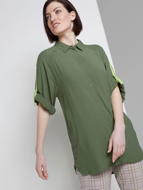 Long blouse with raglan sleeves and turn-ups - Women - olive green - 5 - TOM TAILOR Denim