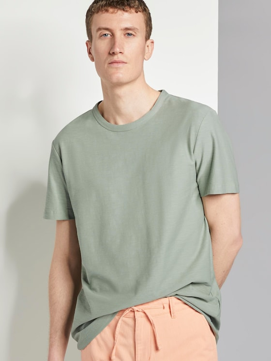 Basic T-Shirt mit Streifenstruktur - Männer - Dusty Leave Green - 5 - TOM TAILOR Denim