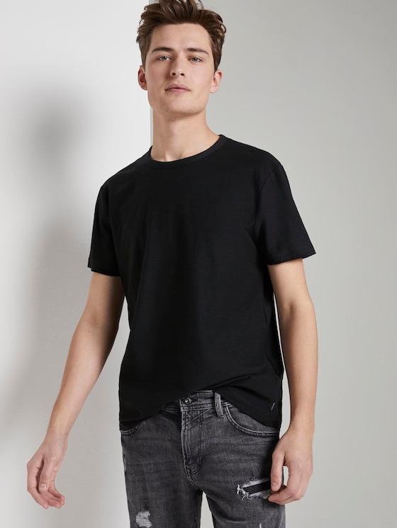 Basic T-Shirt mit Streifenstruktur - Männer - Black - 5 - TOM TAILOR Denim