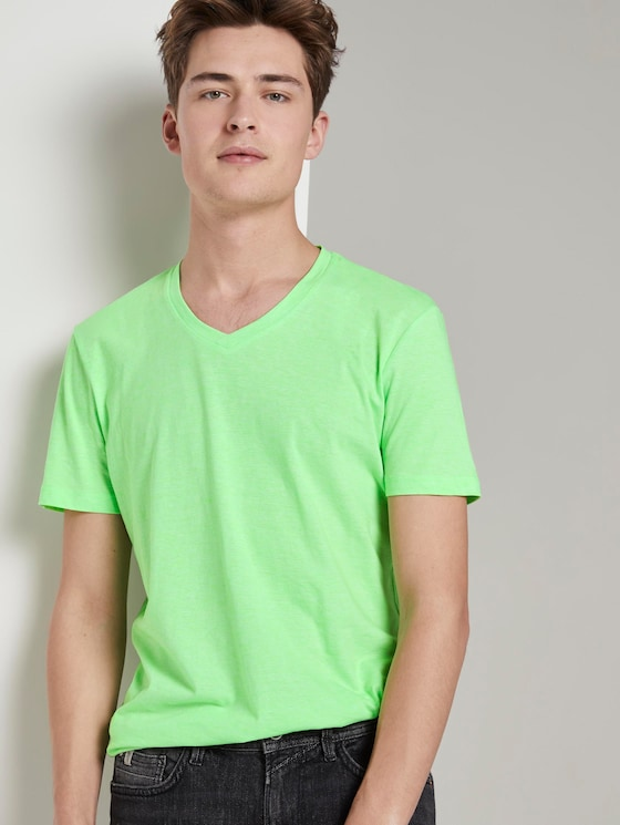 Fein gestreiftes T-Shirt mit V-Ausschnitt - Männer - bright green yarn dye stripe - 5 - TOM TAILOR Denim