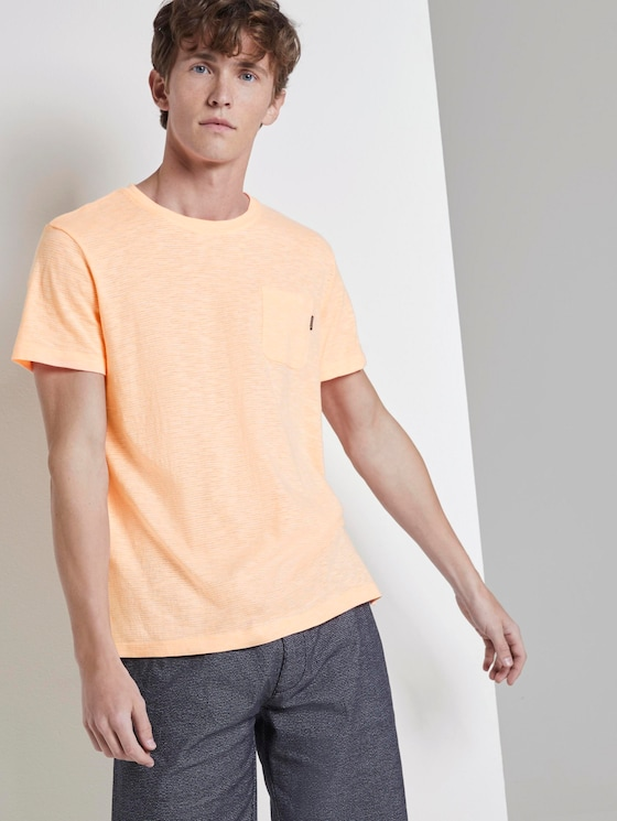 Gestreiftes T-Shirt mit Brusttasche - Männer - neon orange yarn dyed stripe - 5 - TOM TAILOR Denim