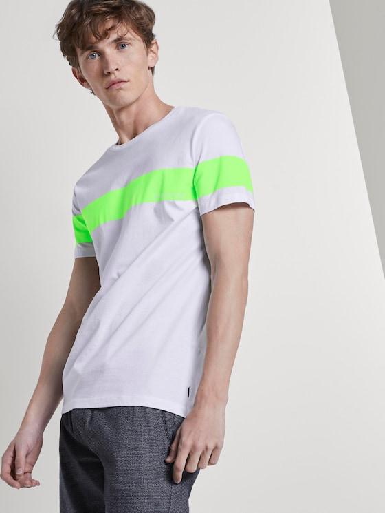 T-Shirt mit horizontalem Streifenprint - Männer - neon lime green - 5 - TOM TAILOR Denim