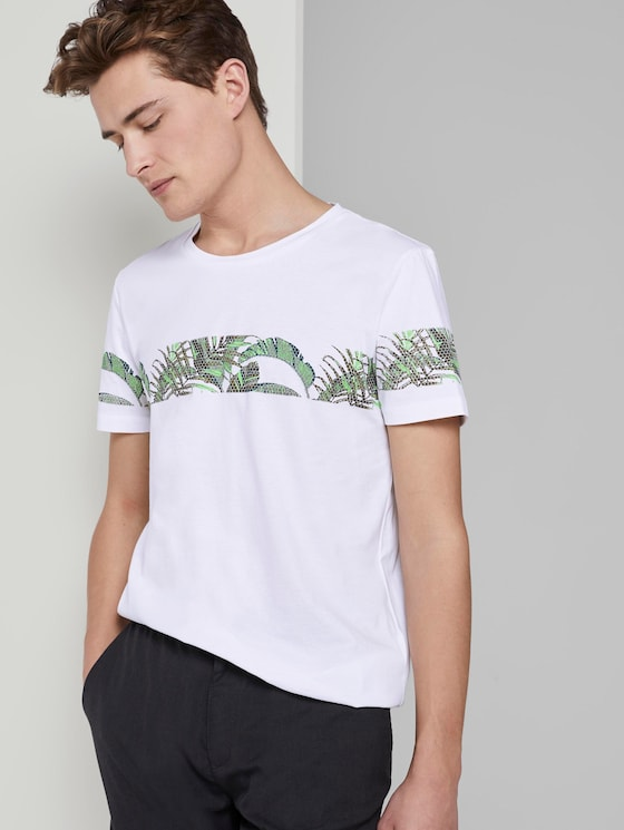T-Shirt mit horizontalem Streifenprint - Männer - White - 5 - TOM TAILOR Denim