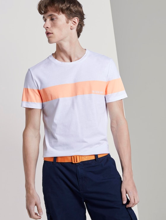 T-Shirt mit horizontalem Streifenprint - Männer - papaya neon orange - 5 - TOM TAILOR Denim