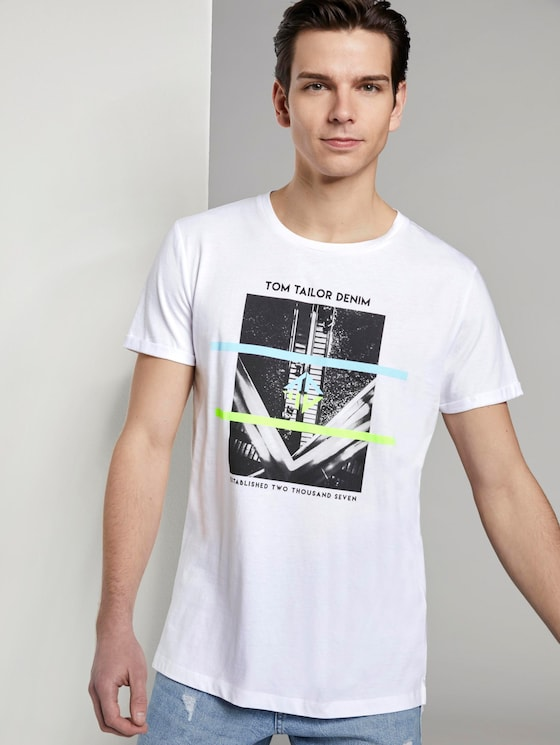 Fotoprint T-Shirt mit Bio-Baumwolle - Männer - White - 5 - TOM TAILOR Denim