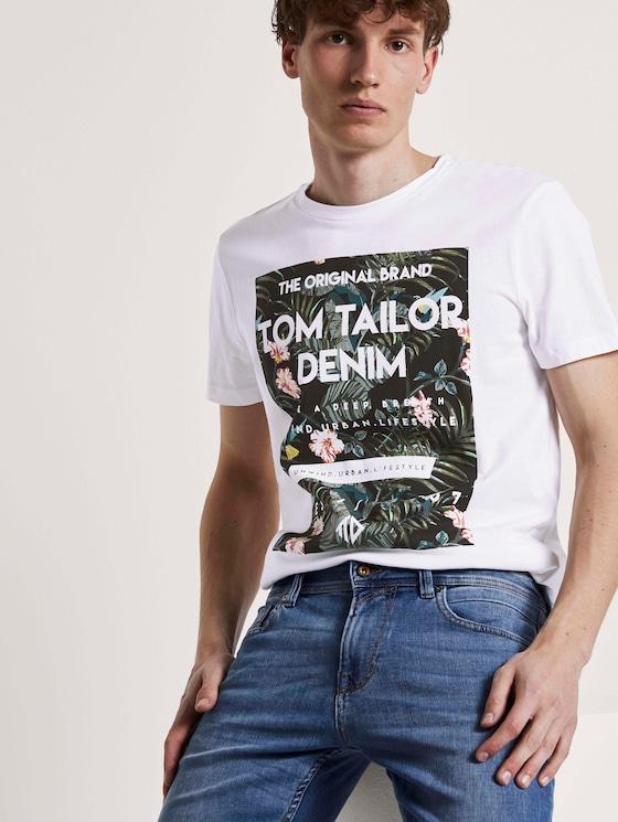 T-Shirt mit tropischem Brustprint - Männer - White - 5 - TOM TAILOR Denim