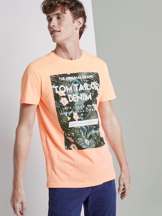 T-Shirt mit tropischem Brustprint - Männer - papaya neon orange - 5 - TOM TAILOR Denim