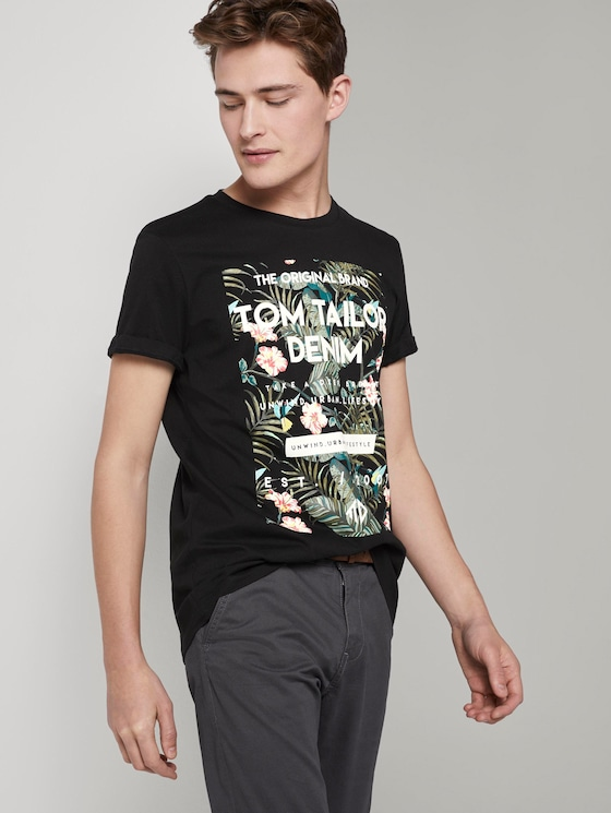 T-Shirt mit tropischem Brustprint - Männer - Black - 5 - TOM TAILOR Denim