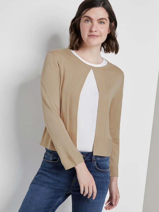 Short cardigan with 3/4 sleeves - Women - cream toffee - 5 - TOM TAILOR