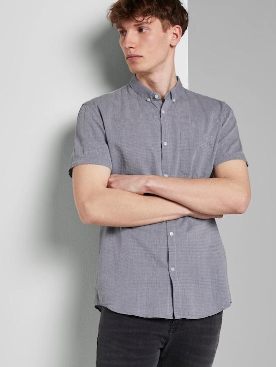 Strukturiertes Kurzarmhemd mit Brusttasche - Männer - Black - 5 - TOM TAILOR Denim