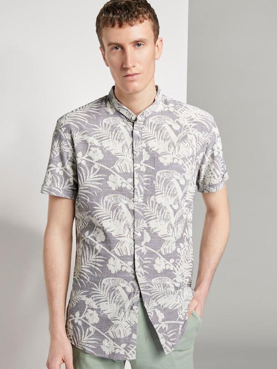 Gemustertes Kurzarmhemd mit Mao-Kragen - Männer - grey botanical yarn dye print - 5 - TOM TAILOR Denim