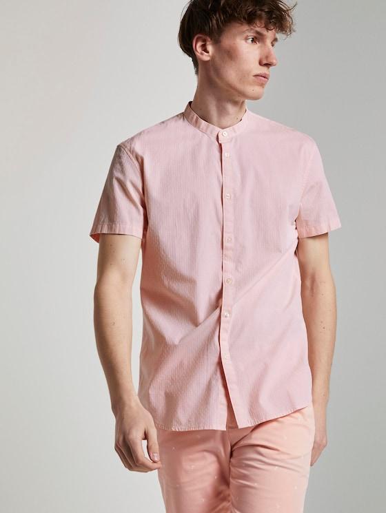 Hemd mit Stehkragen - Männer - orange dobby dot structure - 5 - TOM TAILOR Denim