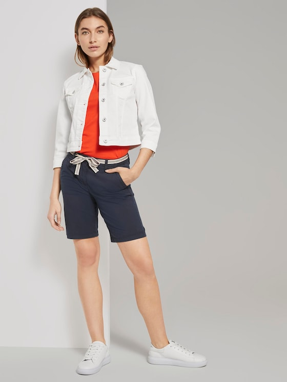 Relaxed Chino Bermuda Shorts mit Stoffgürtel - Frauen - Sky Captain Blue - 3 - TOM TAILOR