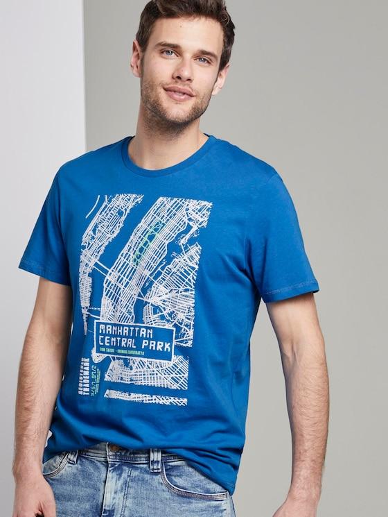 T-Shirt mit NYC-Print - Männer - Electric Teal Blue - 5 - TOM TAILOR