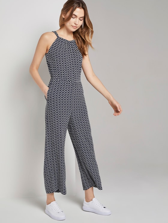 Neckholder Jumpsuit mit weitem Bein - Frauen - navy dot design - 5 - TOM TAILOR