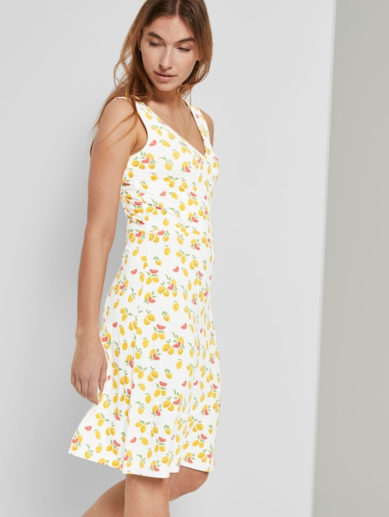 Gemustertes Jerseykleid mit Wickeldetail - Frauen - offwhite fruit minimal - 5 - TOM TAILOR