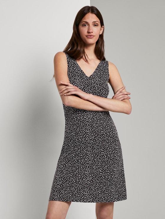 Gemustertes Jerseykleid mit Wickeldetail - Frauen - black offwhite dot print - 5 - TOM TAILOR