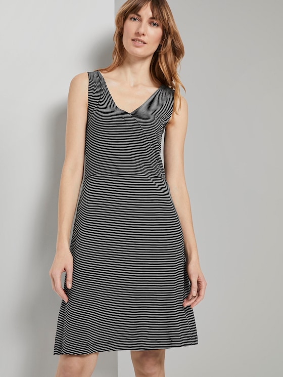 Patterned Jersey dress with wrap detail - Women - black thin stripes - 5 - TOM TAILOR