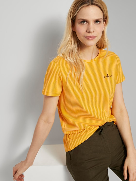 Basic T-Shirt mit kleinem Print - Frauen - yellow thin stripes - 5 - TOM TAILOR