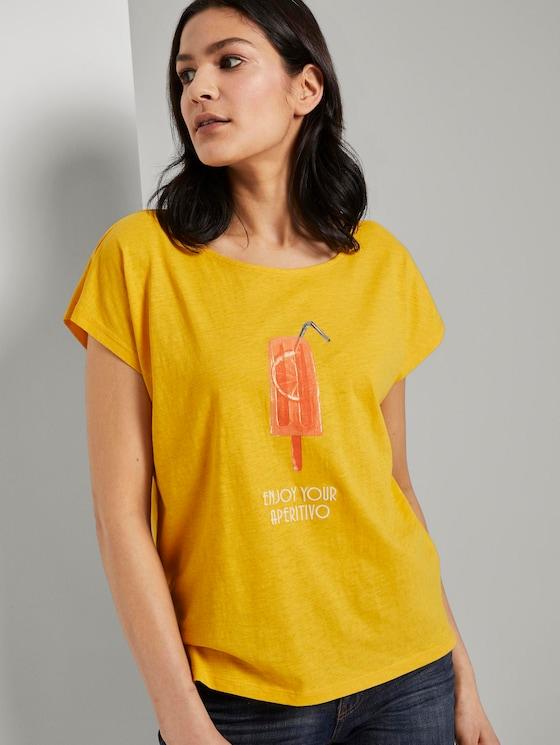 Fein strukturiertes T-Shirt mit Print - Frauen - deep golden yellow - 5 - TOM TAILOR