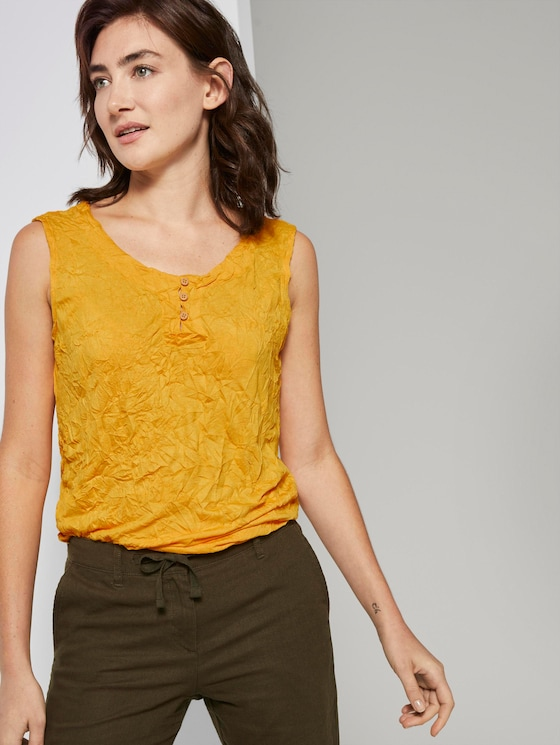 Crincle top with a button closure - Women - deep golden yellow - 5 - TOM TAILOR