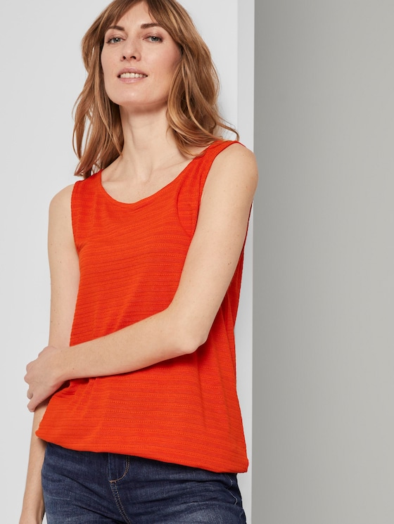 Textured top with an elastic waistband - Women - strong flame orange - 5 - TOM TAILOR